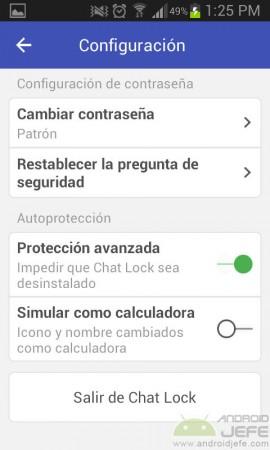 chat lock ajustes de la aplicacion