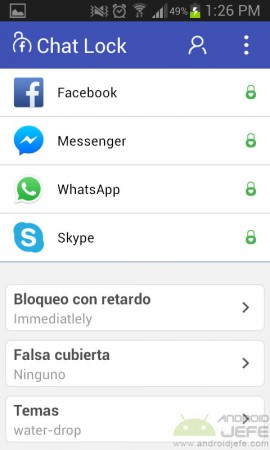 chat lock pantalla para bloquear facebook messenger, whatsapp y skype