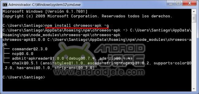 Instalación exitosa de la herramienta chromeos-apk en Windows