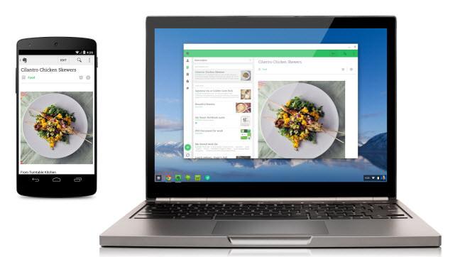 Evernote corriendo en Android (izquierda) y en un Chromebook con Chrome OS (derecha)
