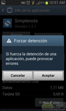 forzar detencion aplicacion android advertencia simplenote