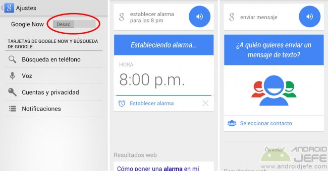 Google Now desactivado; asistente de voz funcionando normalmente
