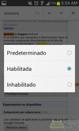 habilitada answers in suggest respuesta rápida chrome