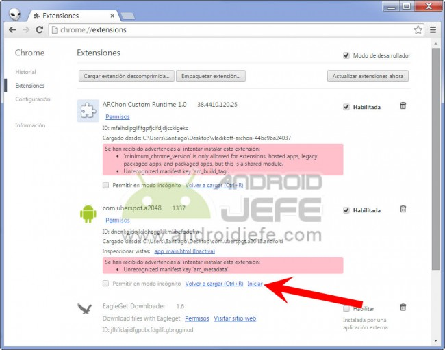 iniciar juego android 2048 android en google chrome