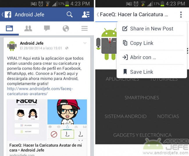 Problema de que los links dentro de Facebook ya no se abren con el navegador por defecto de Android