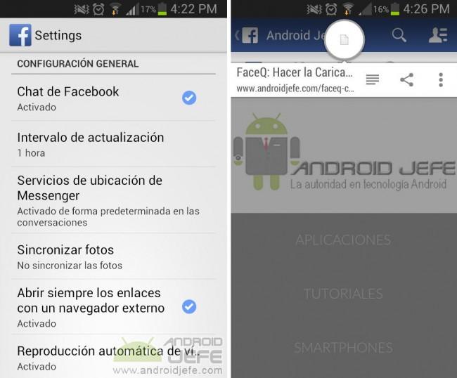 """Opción """"Abrir links con navegador externo"""" en la aplicación de Facebook soluciona el problema"""
