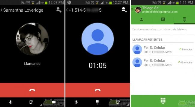 llamada de voz con hangouts android