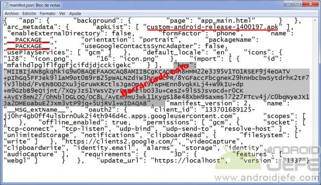 manifest.json ejemplo convertir apk para google chrome