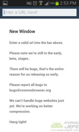 página de inicio cosmos browser