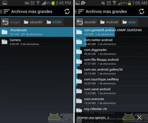 Carpeta .thumbnails ocupando 591MB (izquierda). Subcarpetas dentro de carpeta Android, asociadas a aplicaciones y juegos (derecha)