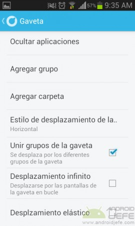 ajustes de gaveta de apps solo launcher