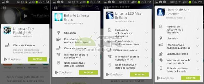 Permisos de algunas aplicaciones de linterna populares en Google Play