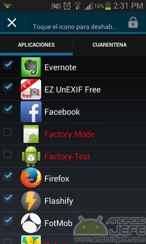 app quarantine deshabilitar aplicaciones android