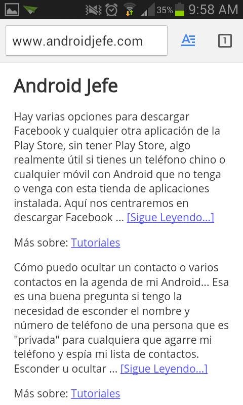 boton modo lectura chrome para android