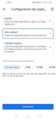 configuracion copia de seguridad calidad datos moviles