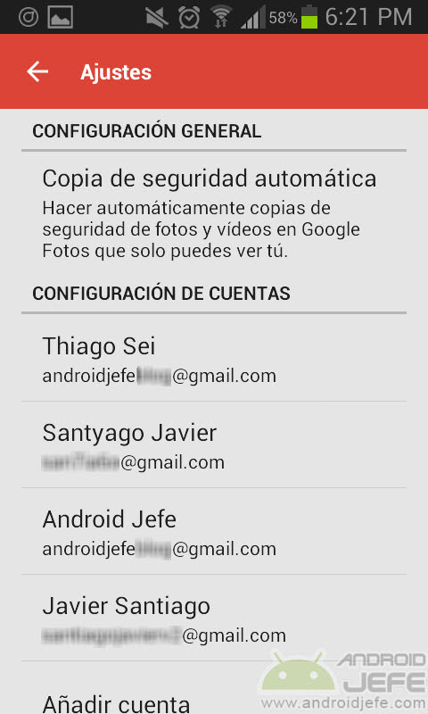 copia seguridad automatica carpetas fotos google plus ajustes