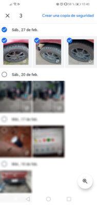 crear copia de seguridad fotos individuales