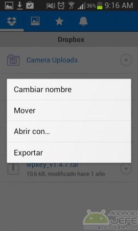 dropbox guardar archivo microsd exportar
