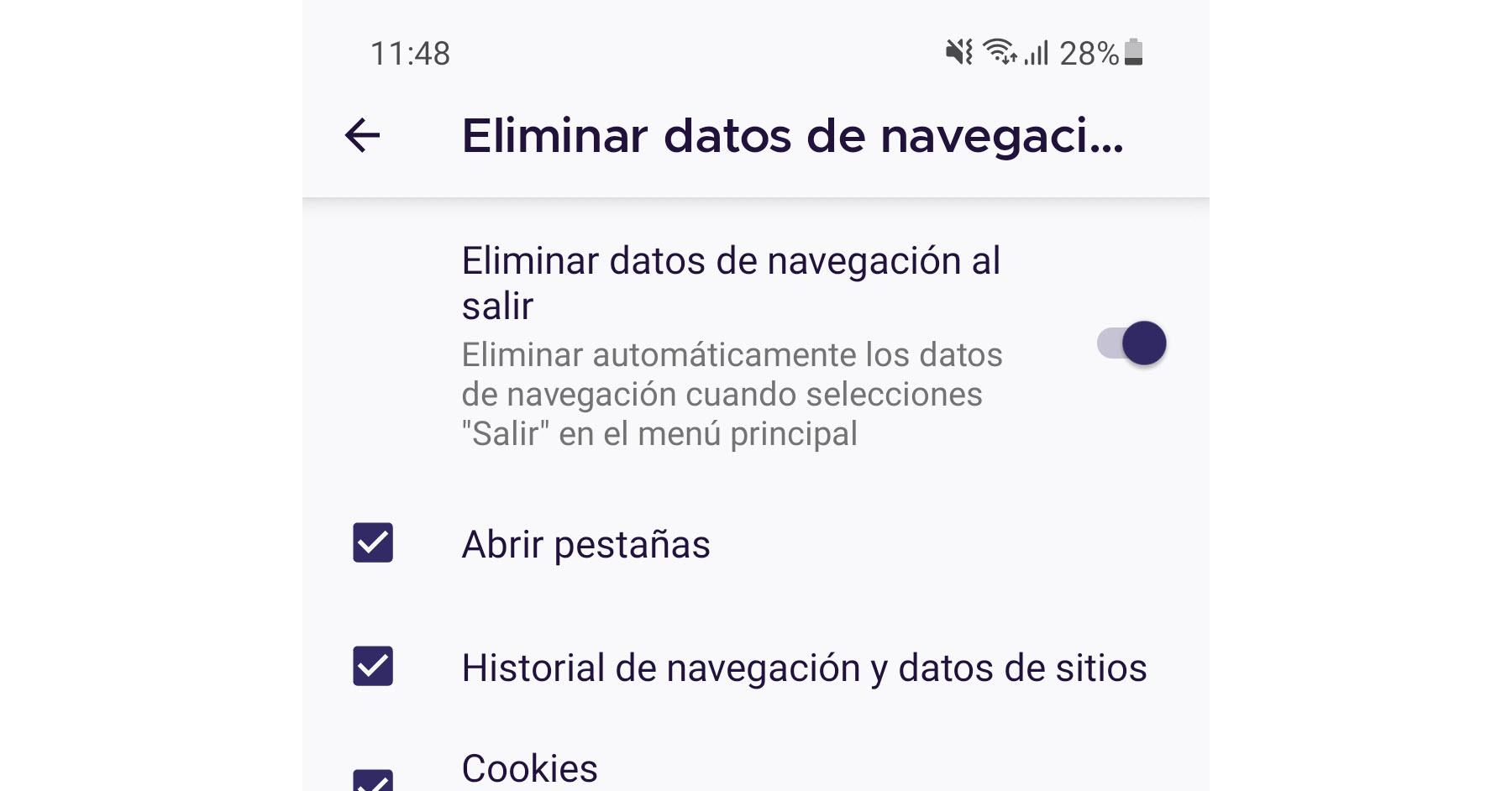 Este navegador elimina el historial de navegación automáticamente al salir