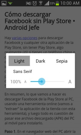 google chrome modo lectura personalizar letra color