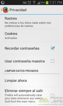 menu privacidad firefox borrar historial