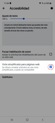 Google Chrome Android simplified viewing mode for web pages