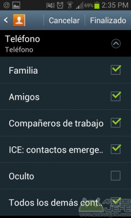 ocultar grupo contactos android