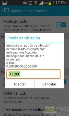 patron de vibracion handcent sms