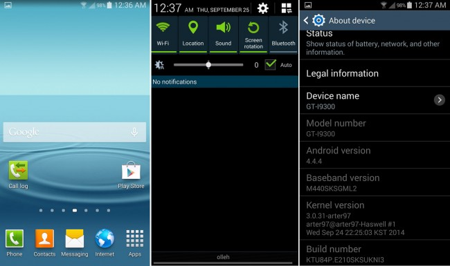 Capturas de pantalla del Samsung Galaxy S3 GT-I9300 con Android KitKat 4.4.4. Fuente: XDA-Developers.com