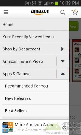 tienda amazon apps y juegos android menu