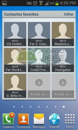 widgets contactos favoritos en pantalla de inicio android