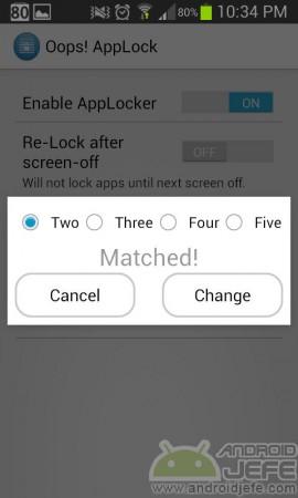 Oops app locker configurar patron botones
