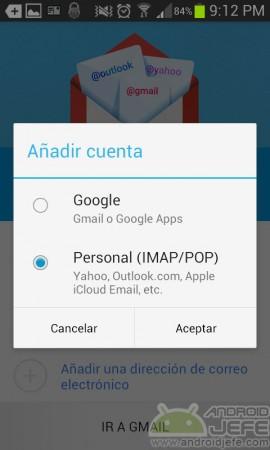 añadir cuenta de correo gmail 5.0 2