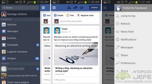 aplicacion android facebook tinfoil