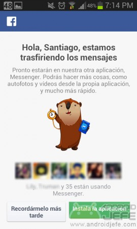 chat en la misma app facebook advertencia messenger