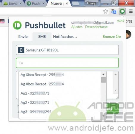 contactos a enviar mensaje de texto pushbullet