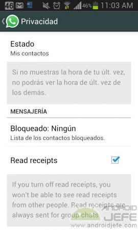 desactivar dos vistos azules whatsapp
