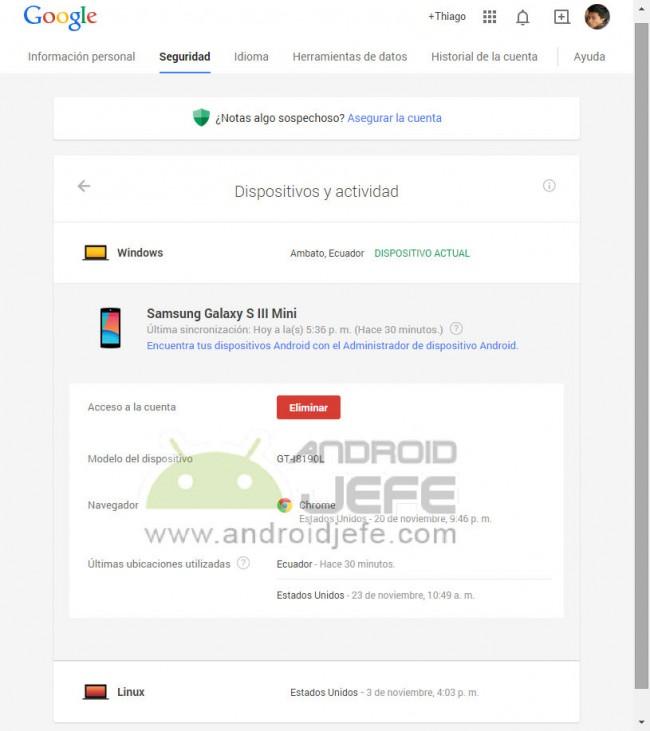 eliminar dispositivos android cuenta google