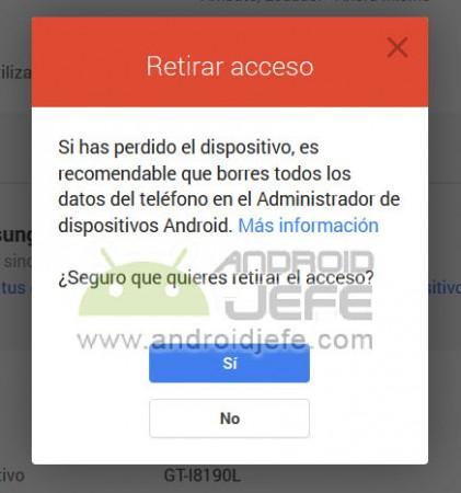 eliminar dispositivos android cuenta google retirar acceso