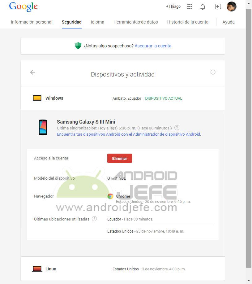 Eliminar DESVINCULAR dispositivos Android de cuenta Google