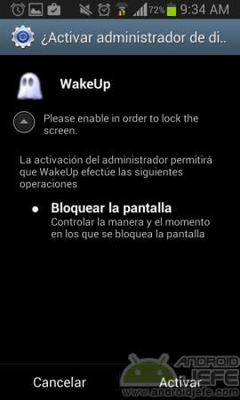 encender pantalla android sin boton activar wakeup administrador dispositivos