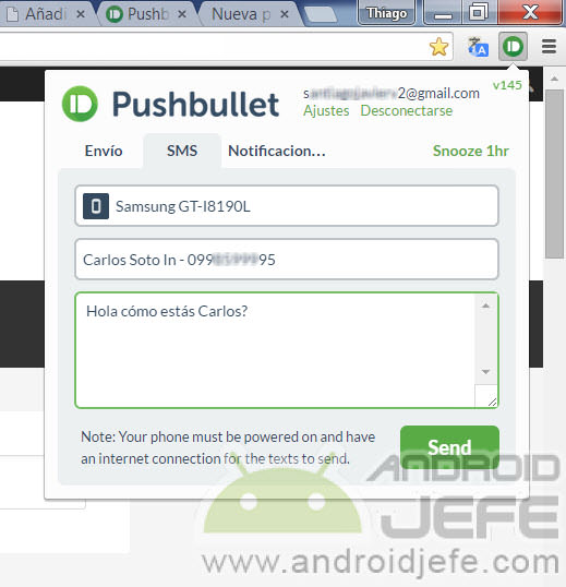 enviar mensajes de texto chrome pushbullet