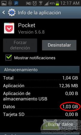 pocket uso de memoria android 2