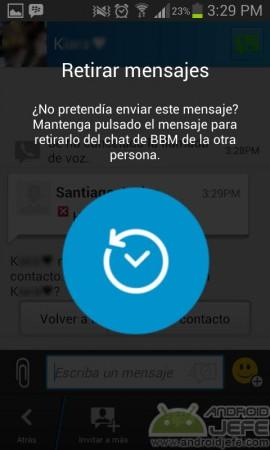 retirar mensajes bbm android
