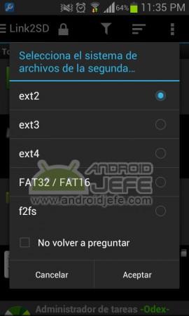 seleccionar sistema archivos de la segunda particion link2sd 2