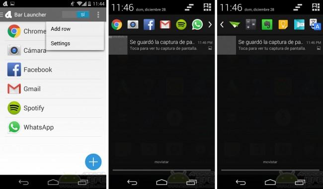 agregar iconos aplicaciones barra notificaciones android bar launcher