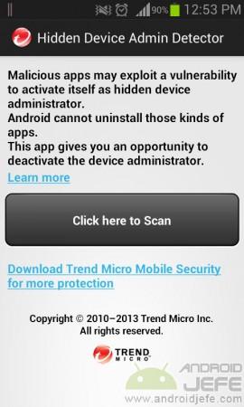 detector administrador de dispositivo oculto android