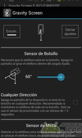 gravity screen on off sensor bolsillo