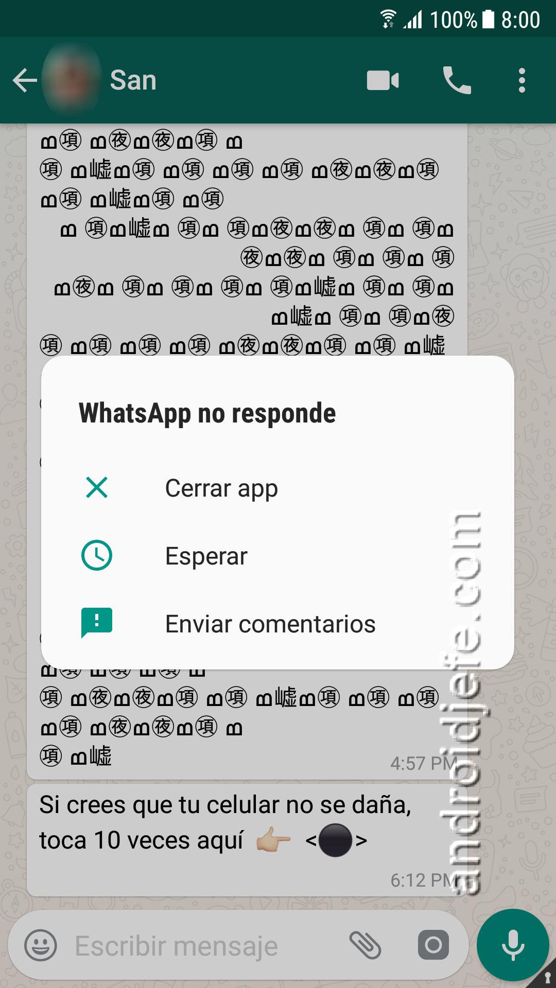 Este mensaje de WhatsApp DAÑA el celular de la otra persona (Bug SOLUCIONADO)