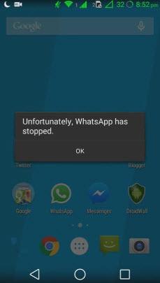 mensaje hacer fallar whatsapp desafortunamdanete se ha detenido